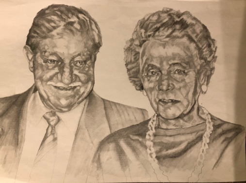 Ted and Phyllis, A3 pencil portrait - 460 minutes