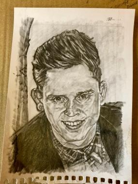 Kieran, A5 pencil drawing